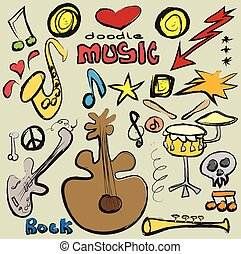 doodle set music background, vector