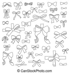 doodle set of bows, ribbons