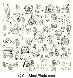 Doodle Set of Circus people, animals, elements isolated on white, Black contour for coloring