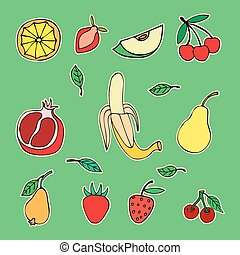 Doodle set of different fruits isolated on white background