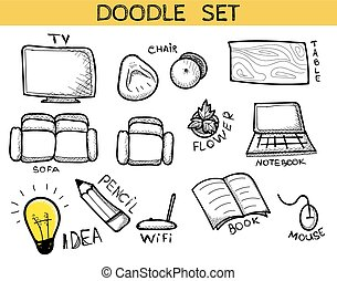 Doodle set of elements of an interior of handmade. Sketch furniture. Chair and table. Beanbag and sofa. Wifi and Tv. Flower and lamp. Idea and pencil. Laptop and mouse. Book and notebook