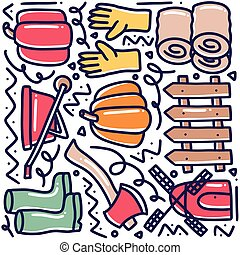 doodle set of farming and gardening tools hand drawing
