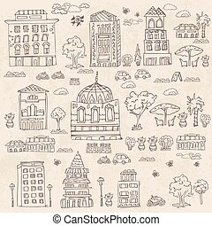 doodle set of houses with trees