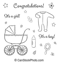 Doodle set of items for newborn