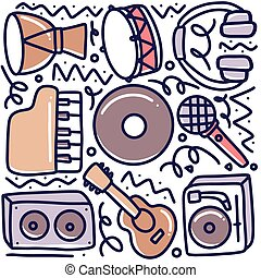 doodle set of music tools hand drawing