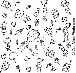 Doodle set of objects a funny