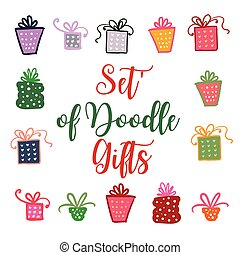 Doodle set of presents, ribbons, stars. Vector isolated on white for celebration design. All gifts are grouped.