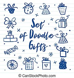 Doodle set of presents, ribbons, stars. Vector isolated on paper for celebration design. All gifts are grouped.