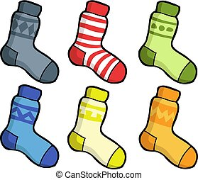 Cartoon doodle set of socks on a white background vector illustration