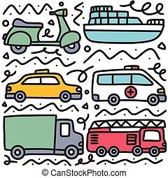 doodle set of transportation hand drawing