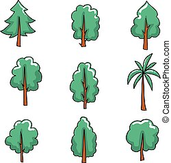 Doodle set of tree vector art
