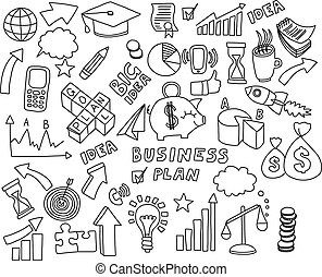 Doodle set of vector business icons