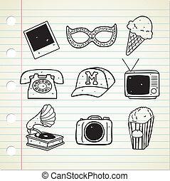doodle, set, ouderwetse , farceren