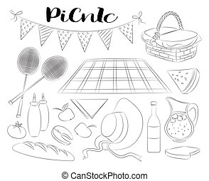 doodle, set, picknick