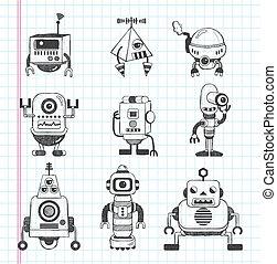 doodle, set, robot, iconen