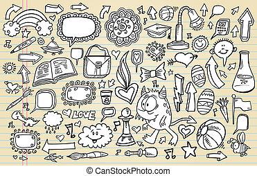 doodle, set, schets, ontwerp, aantekenboekje