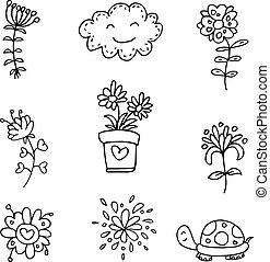 Doodle set spring flower clouds