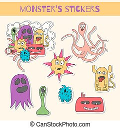 doodle, set, stickers, monster