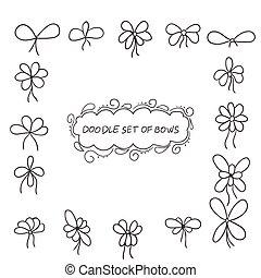 doodle, set, van, buigingen