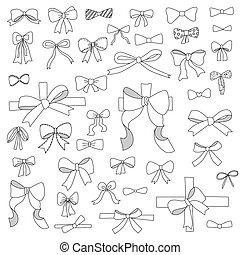 doodle, set, van, buigingen, linten