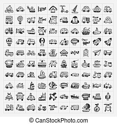 doodle, set, vervoeren, iconen