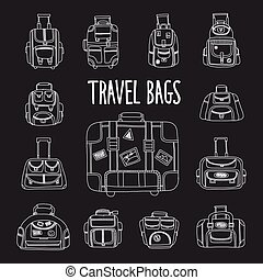 Doodle set with travel bag icons