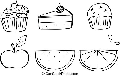 Doodle sets of different foods