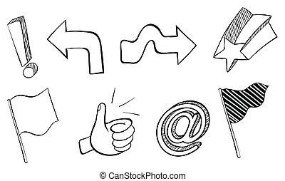 Doodle sets of different symbols