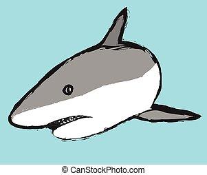 doodle shark vector