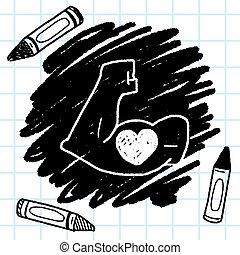 doodle, silny, mięsień