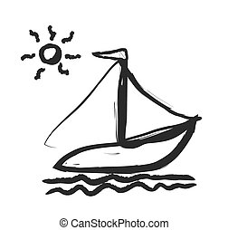 doodle simplified sailboat on waves