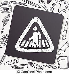 doodle, sinal, pessoas, passeio