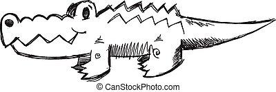 Doodle Sketch Alligator Vector art