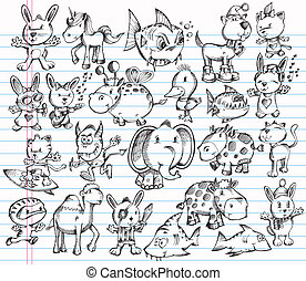Doodle Sketch Animal Vector Design set