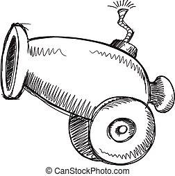 Doodle Sketch Cannon  Illustration Art