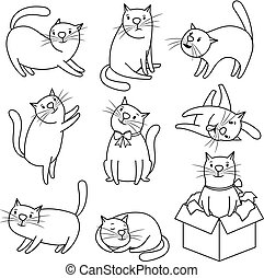 Doodle sketch cats character set