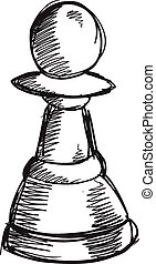 Doodle Sketch Chess Pawn Vector