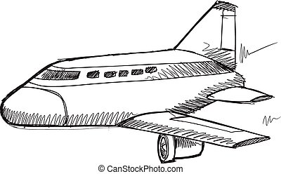 Doodle Sketch Commercial Jet Vector