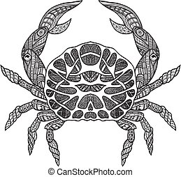Doodle sketch crab black line - Ocean shallow water and sea...