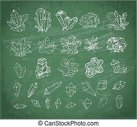 Doodle sketch crystals. Collection of minerals on blackboard background