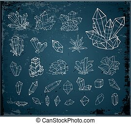 Doodle sketch crystals. Collection of minerals on dark blue background