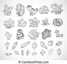 Doodle sketch crystals. Collection of minerals on white background.