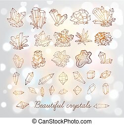 Doodle sketch crystals. Collection of minerals on white glowing background