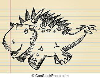 Doodle Sketch Cute Dinosaur Vector