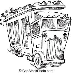 Doodle Sketch Dump Truck Vector Illustration Art
