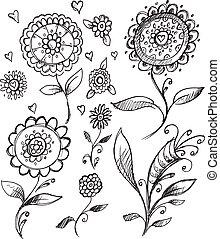 Doodle Sketch Flower Vector Set