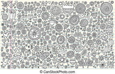 Doodle Sketch Flowers Spring set