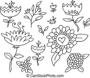 Doodle Sketch Flowers Spring Vector