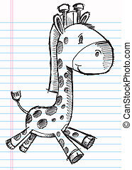 Doodle Sketch Giraffe Vector Art