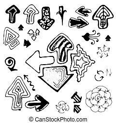 Doodle Sketch Hand Drawn Arrows Set